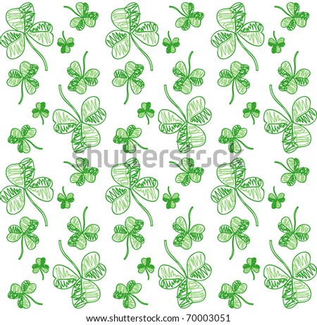 Seamless shamrock background. Vector version available - stock photo