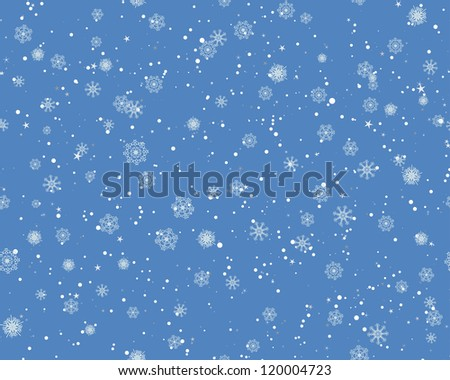 Seamless snowflakes background for winter and christmas theme. Raster version. - stock photo