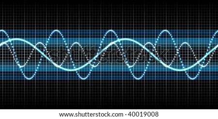 seamless sound wave blue - stock photo