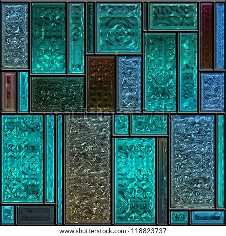 Seamless square blue textured stained glass panel - stock photo