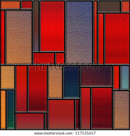 Seamless square colorful textured stained glass panel - stock photo
