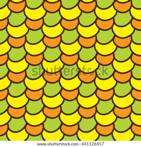 Seamless summer background. Hand drawn pattern. Suitable for fabric, greeting card, advertisement, wrapping. Bright and colorful abstract ornament multicolored corn kernels. Summer pattern of corn - stock photo