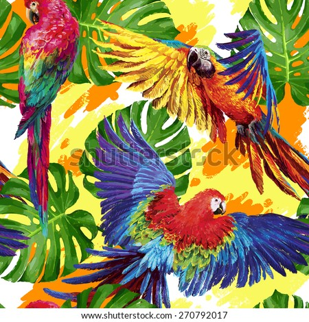 Seamless summer pattern with tropical parrots and leafs. Exotic textile - stock photo