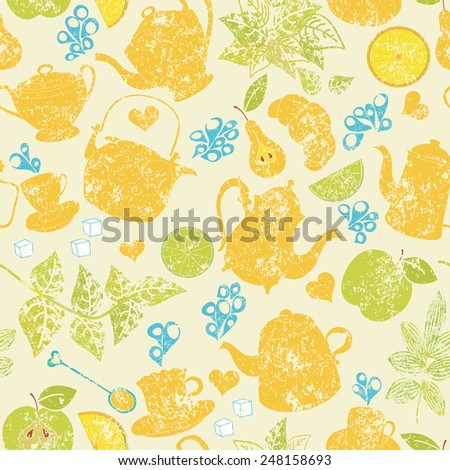 Seamless tea pattern with cups, teapots and fruits - stock photo