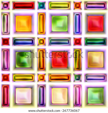 Seamless texture of abstract bright shiny colorful geometric shapes - stock photo