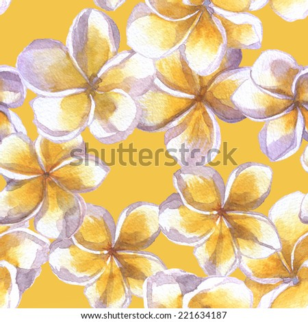 seamless texture of flowers plumeria on yellow background. floral pattern with white flowers - stock photo