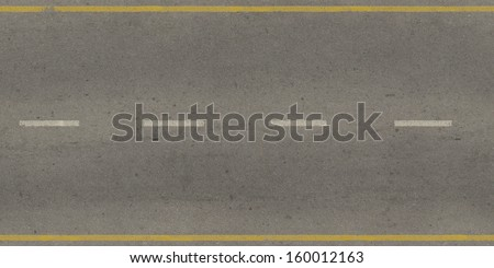 Seamless texture of grey, slightly worn road with yellow and white stripes. - stock photo