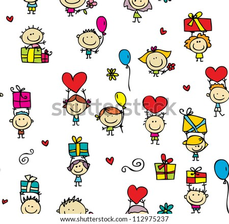 Seamless texture of kids with presents and hearts - stock photo