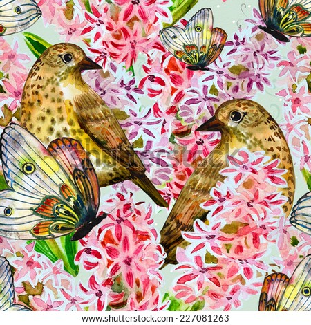 seamless texture with cute birds and flowers watercolor - stock photo