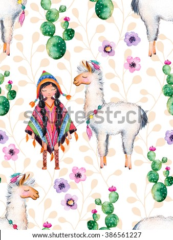 Seamless texture with high quality hand painted watercolor elements for your design with cactus plants,flowers,cute American Indian girl in traditional poncho and lama.For your unique creation. - stock photo