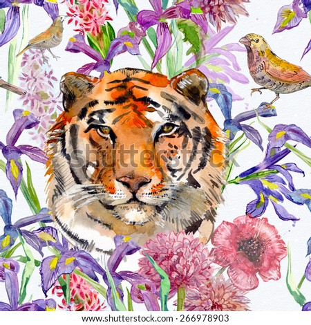 seamless texture with tiger and beautiful flowers. watercolor - stock photo
