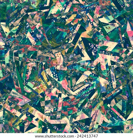 seamless textured grunge psychedelic pattern - stock photo