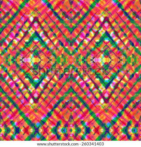 seamless tie dye pattern with rhombus and checks in summer colors  - stock photo