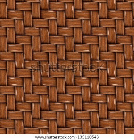 Seamless Tileable Texture of Brown Wooden Rattan. - stock photo