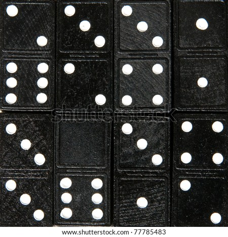 Seamless tiled domino cards pattern. Square tiled with eight dominoes one of them being empty. Uniqueness concept. - stock photo