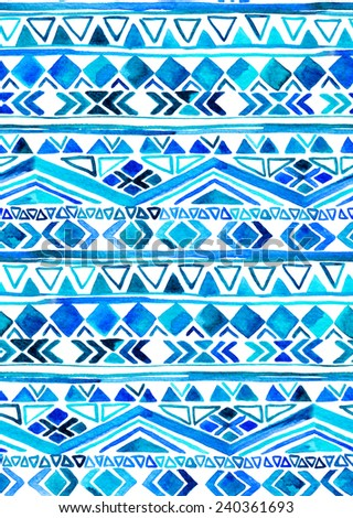 seamless tribal pattern in shades of blue and turquoise. aztec ethnic motifs in striped layout. - stock photo