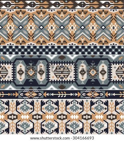 Seamless tribal pattern with geometric elements  - stock photo