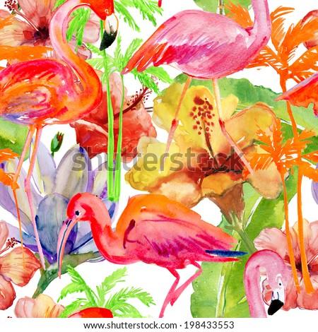 Seamless tropical flamingo and palm tree. - stock photo