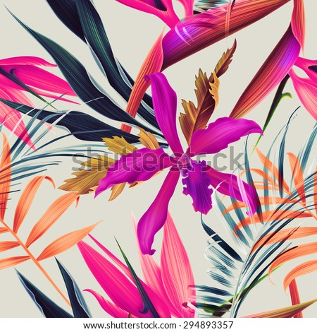 Seamless tropical flower, plant and leaf pattern background - stock photo