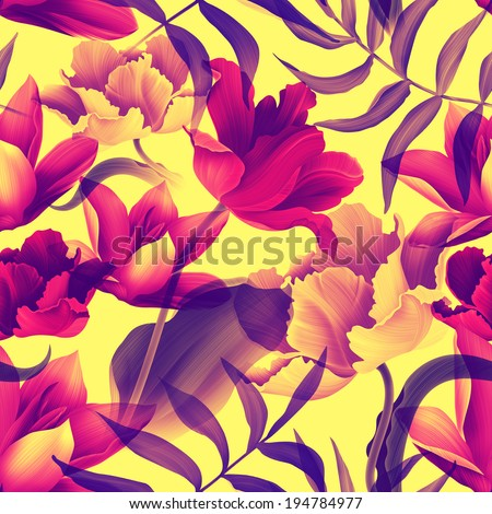 seamless tropical flower, plant pattern background - stock photo