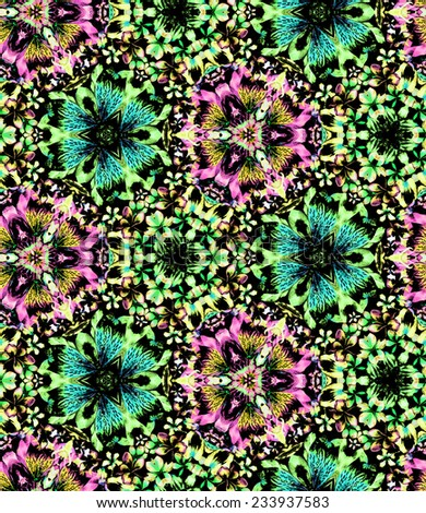 seamless tropical kaleidoscope pattern. exotic beautiful flowers in fragments and mosaics. - stock photo