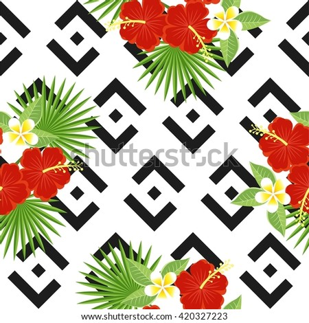 seamless tropical leaves and flowers - palm, monstera, hibiscus and plumeria against the background of geometric black and white pattern - stock photo