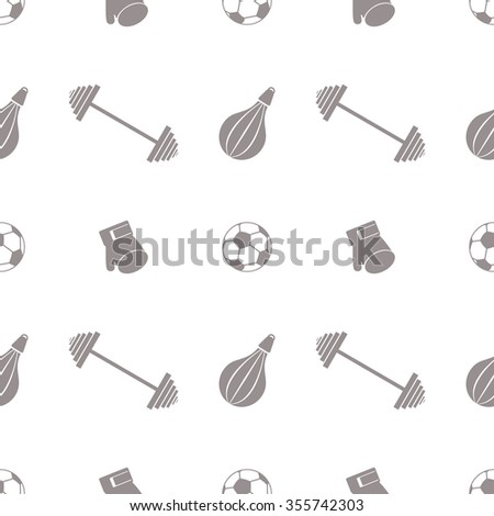 Seamless vector pattern.  Background with grey sports equipment. Soccer ball, punching bag, gloves, barbells on the white backdrop - stock photo