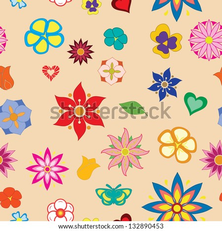 Seamless vector texture, consisting of flowers, leaf, butterflies, hearts. Raster version. - stock photo