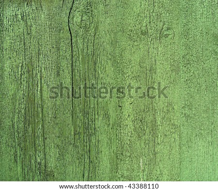 Seamless vertical tiling wood fence texture in green color - stock photo