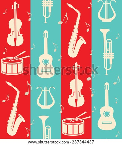 seamless vintage background with music instruments  - stock photo