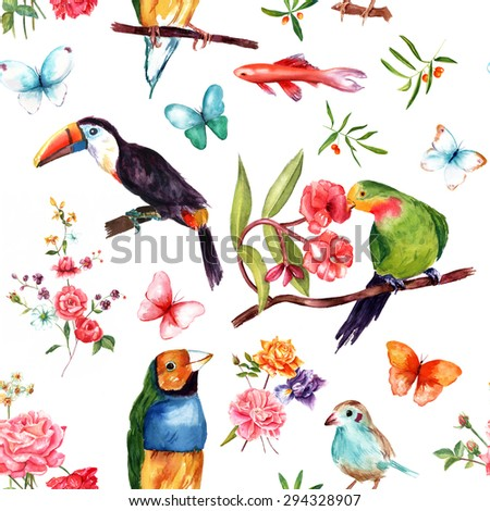 Seamless vintage collage pattern with exotic birds and fish, butterflies and roses - stock photo