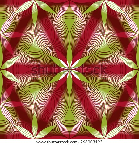 Seamless vintage floral background, geometric lined seamless pattern, illustration. - stock photo