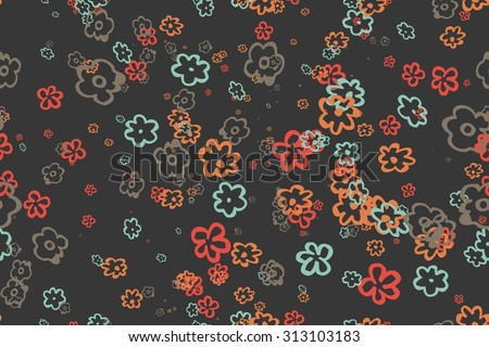 Seamless vintage pattern. Raster version. seamless pattern of flowers in retro style - stock photo