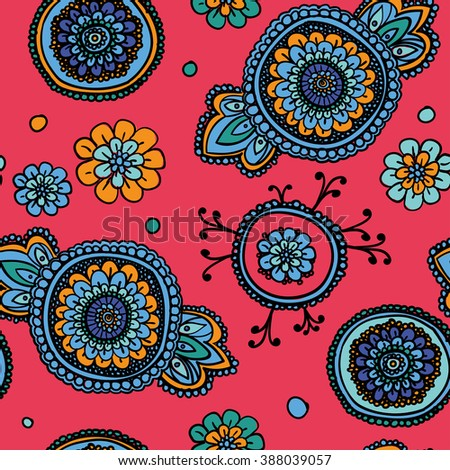 Seamless vintage pattern with floral motifs. Based on a traditional oriental textiles. Warm pink. - stock photo