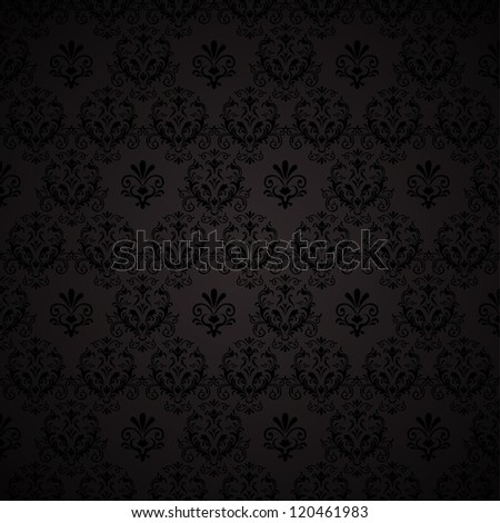 Seamless wallpaper pattern. Black background.  illustration - stock photo