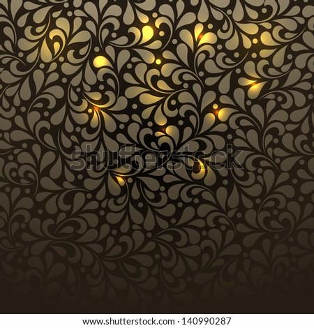 Seamless wallpaper pattern golden. For vector version, see my portfolio. - stock photo