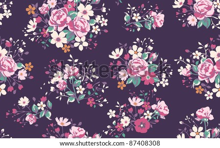 Seamless wallpaper pattern with of  vintage pink roses and butterfly - stock photo