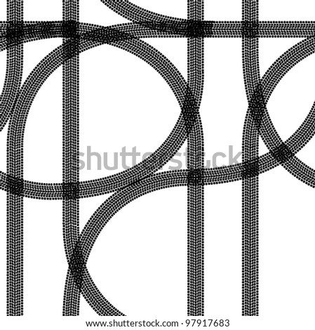 Seamless wallpaper winter tire tracks pattern illustration  background. Vector version also available in portfolio. - stock photo
