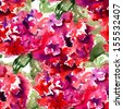 Seamless wallpaper with Beautiful Hydrangea red flowers, watercolor illustration  - stock photo