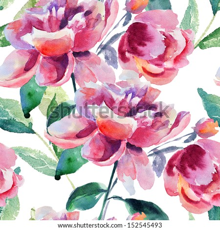 Seamless wallpaper with Beautiful Peony flower, Watercolor painting  - stock photo
