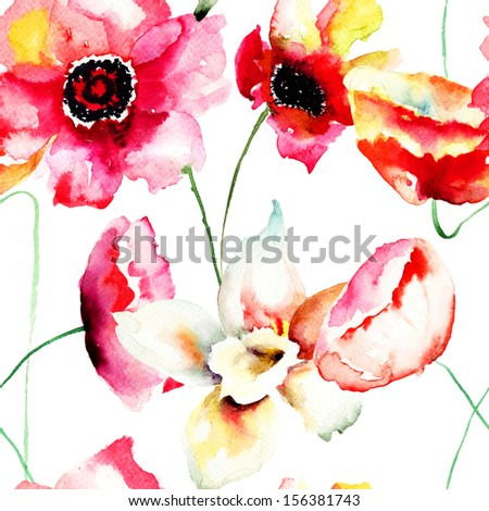 Seamless wallpaper with Colorful red flowers, watercolor illustration.  - stock photo