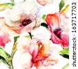 Seamless wallpaper with Lily flowers, watercolor illustration   - stock photo