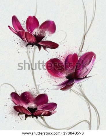 Seamless Wallpaper with purple flowers, watercolor illustration - stock photo