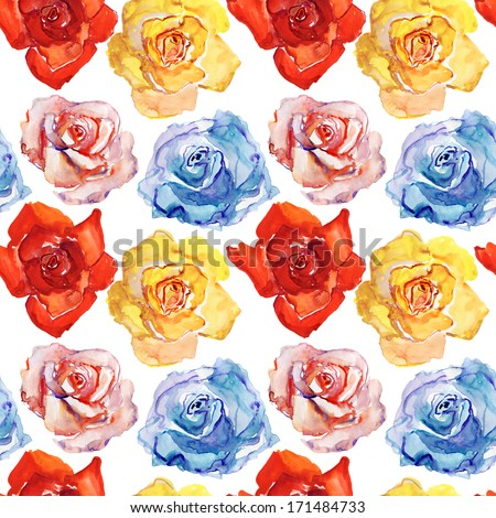 Seamless wallpaper with  roses, watercolor illustration. Watercolor painting with Rose flowers, seamless pattern - stock photo