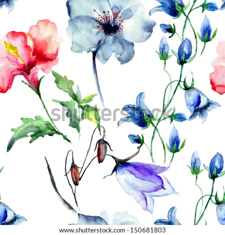 Seamless wallpaper with wild flowers, watercolor illustration - stock photo