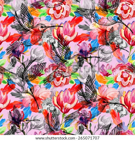 seamless watercolor background, flora tropical flowers, birds and leaves - stock photo