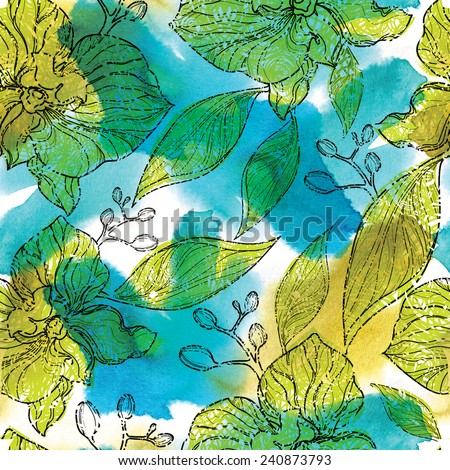 "Seamless watercolor floral pattern with orchids (From my big ""Seamless collection"") - stock photo"