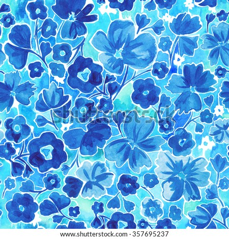 Seamless watercolor hand drawn beautiful flower pattern. Fantasy, ditsy, romantic, spring summer time, gentle, blue, floral decorative background. - stock photo