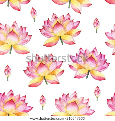 Seamless watercolor ornament with lotus flowers. Oriental style. - stock photo