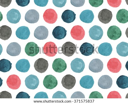 Seamless watercolor pattern. African elements. Folk hand painted background. Colorful elements. Polka dot - stock photo